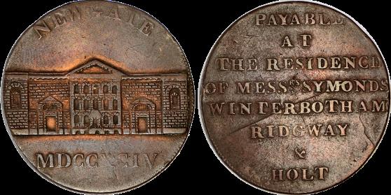 Inglaterra. Prisión de Newgate. 1/2 Penny Token. Cu. 1794. Muy escasa. MBC+/MBC.