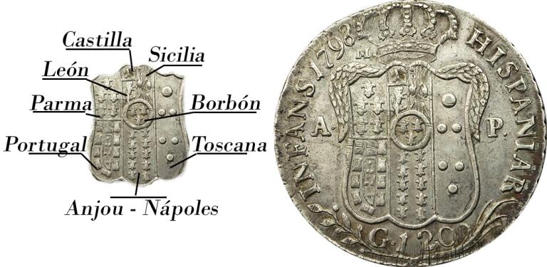 120 Granas 1798. Piastra. Fernando IV. Nápoles. Escudo